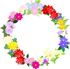 The frame that is made with various flowers