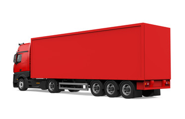 Red Container Truck Isolated