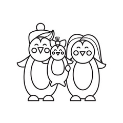 Family of penguins in a line style