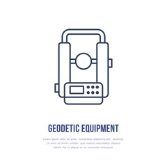 Theodolite Geological survey, engineering vector flat line icon. Geodetic equipment. Geology research illustration, sign.