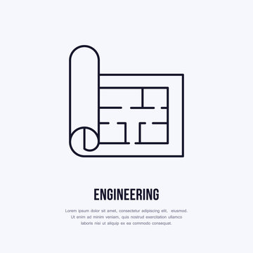 Building plan. Architectural paper, engineering vector flat line icon. Technical drawing illustration, sign.