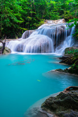 Wall Mural - Waterfall at Erawan National Park, Kanchana buri, Thailand