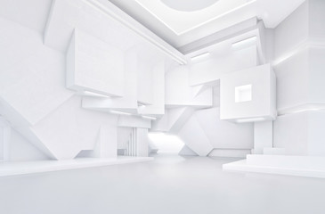 White abstract interior of modern open space
