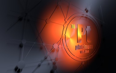 Platinium chemical element. Sign with atomic number and atomic weight. Chemical element of periodic table. Molecule and communication background. Connected lines with dots. 3D rendering