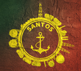 Circle with cargo theme relative silhouettes. Design set of natural gas logistic. Objects located around circle with anchor in the center of them. Santos port name. Grunge texture