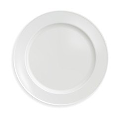 empty porcelain plate in a realistic style on a white background. Vector illustration.
