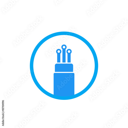 Quot Optic Fiber Cable Icon On White Quot Stock Image And Royalty