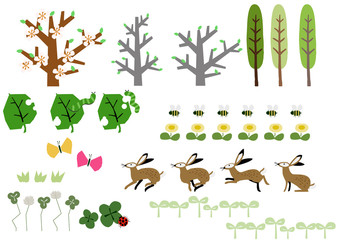 野兎と春の素材集。春の生物。春の植物。シーズンのイラスト。