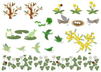 ミモザの花。カエルと小鳥の素材集。春のイメージ。季節の素材集。