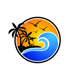 beach logo vector template