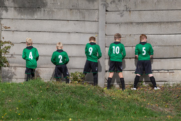 pause at a children's football soccer match