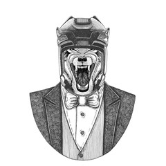 Wolf, Dog Wild animal Animal wearing jacket with bow-tie and hockey helmet or aviatior helmet. Elegant hockey player. Image for tattoo, t-shirt, emblem, badge, logo, patch