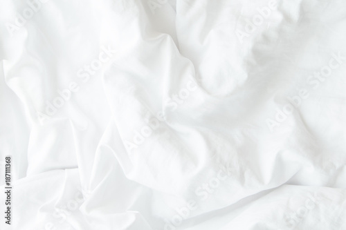 Soft fabric texture comfortable bed sheet wrinkles Stock photo