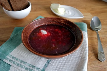 Popular Belarusian and Ukrainian soup with cabbage, beets, potatoes and carrots