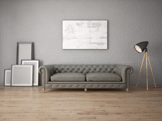 Mock up modern living room with leather sofa on brick wall background.