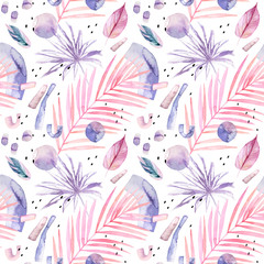 Printed kitchen splashbacks Watercolor Nature Abstract watercolor background with tropical and geometrical elements