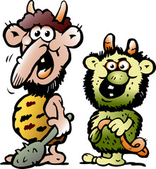 Cartoon Vector illustration of two funny goblins or trolls monsters