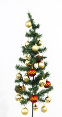isolated christmas tree adorned with red and yellow balls