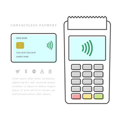 Contactless and mobile payment with POS terminal and credit or debit card. Line art isolated on white background.