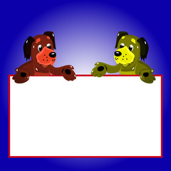 Character, 2 dogs with empty frame for writing, cartoon on blue background