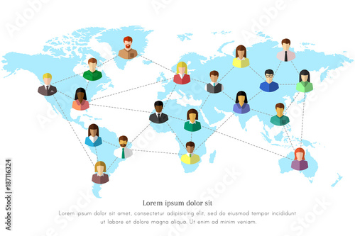 Diverse people and world map concept with dotted line as global diverse people and world map concept with dotted line as global connection symbol colorful flat gumiabroncs Gallery