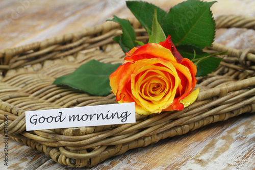 Good Morning Card With One Red And Yellow Rose Sprinkled With