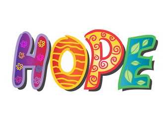 Hope hand lettering decorative.