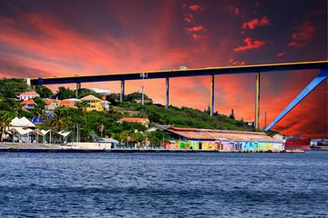 Sunset Beyond Curacao Bridge Wall mural