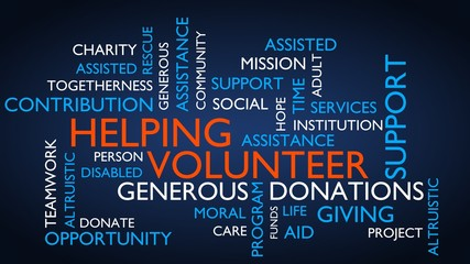 Helping, volunteer, support, donations word tag cloud. 3D rendering, blue variant.
