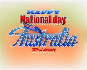 Holiday design, background with 3d texts and national flag colors for 26th of January, Australia National day, celebration; Vector illustration