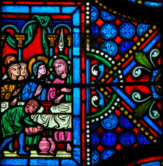 Fototapete - Stained Glass - Wedding of Cana
