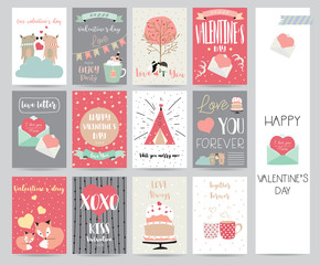 Valentine's day collection for banners,Placards with cake,letter,ribbon,bear,heart and fox
