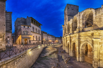 Roman amphitheatre at dusk in Arles, France (HDR-image)