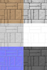 stone wall painted texture seamless with maps