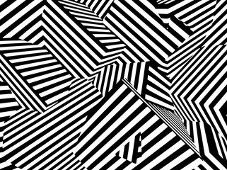 Abstract black and white striped optical illusion three dimensional geometrical boxes