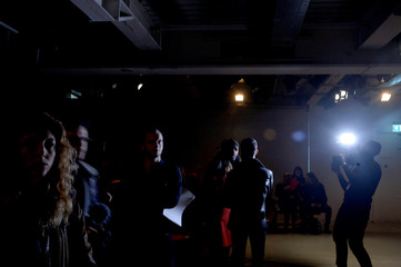 Audience members are interviewed before Tinie Tempah's What We Wear show at London Fashion Week Men's in London
