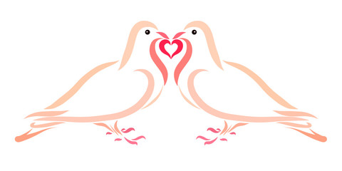 Doves in Love Together Hold a Heart