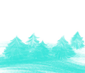 Colorful hand drawn abstract view of blue Christmas trees on white background, isolated cartoon illustration of forest painted by watercolor and oil color on canvas, high quality