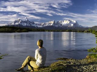 Sunset, Rio Serrano & Torres del Paine