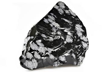 snowflake obsidian isolated on white background