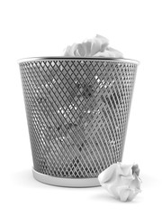 Paper trash can with crumpled paper