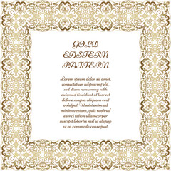 Gold square frame. Ornate vignette for Your design cards, invitations. Element in Arabic style. Vector illustration.