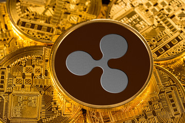 Illustration of Ripple coin with gold background