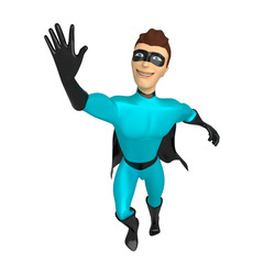A young guy dressed as a superhero with his hand raised. 3d illustration