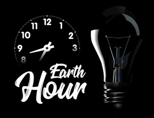 The Earth Hour is an international action calling for the switching off of light for one hour for environmental assistance to planet Earth. illustration