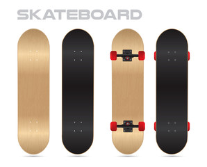 wood skateboard template vector two sides