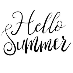 Hello summer lettering isolated on white hand written vector type. Calligraphy