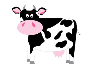 cute black and white cartoon dairy cow on white background / vector illustration for children