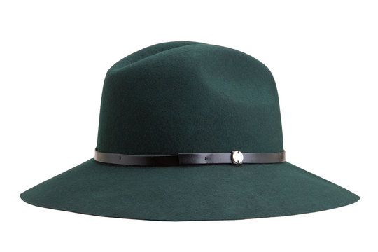 Fashionable female hat of green color