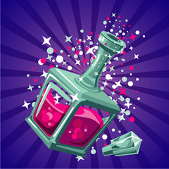 Magical elixir. Game design concept magic bottle. Cartoon illustartion
